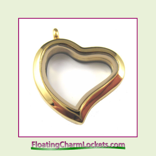Plain Gold Curved Heart Stainless Steel Floating Charm Locket