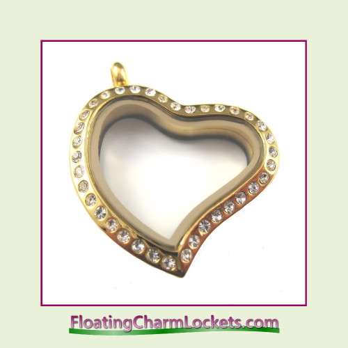 CZ Gold Curved Heart Stainless Steel Floating Charm Locket