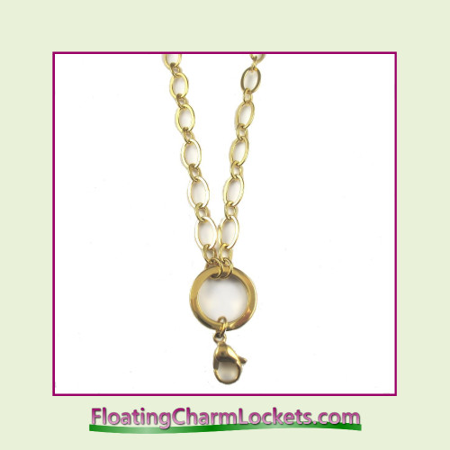 """SS680 - Large Oval Loop 32"""" Gold Stainless Steel Chain (5mm)"""