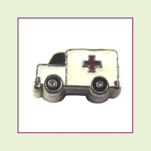 Ambulance (Silver Base) Floating Charm