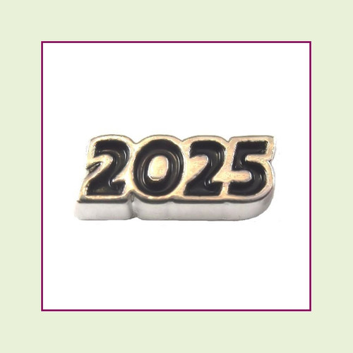 2025 Silver and Black Floating Charm