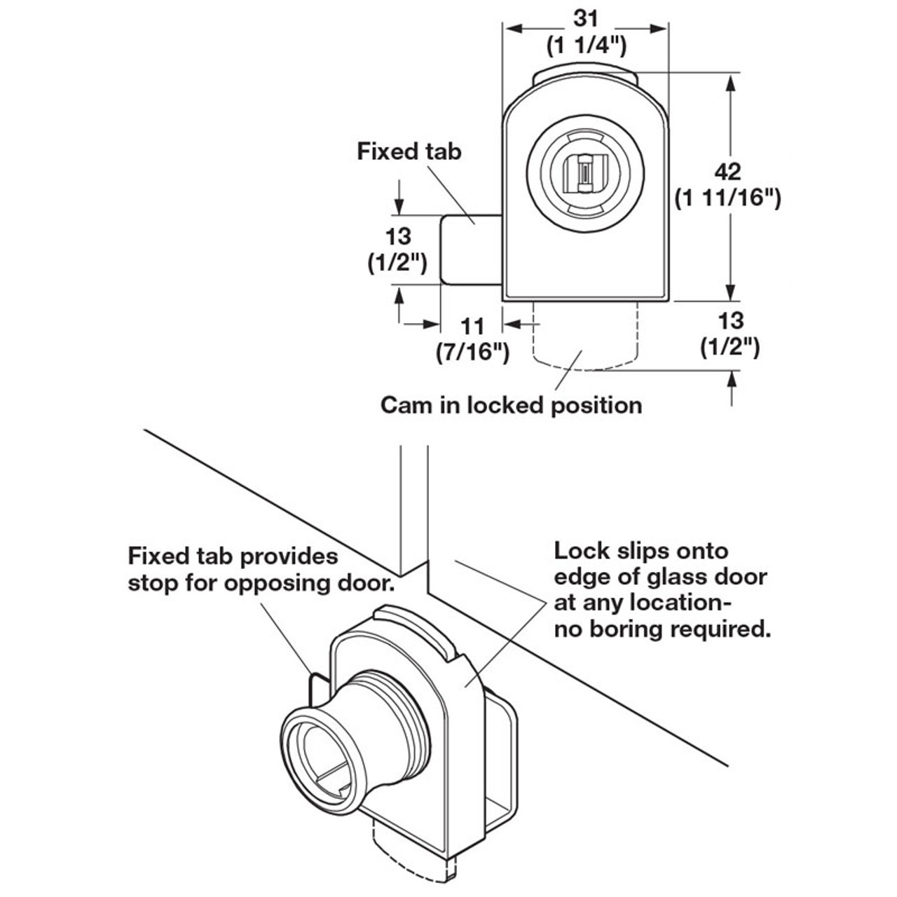 Timberline Cylinder Module System Glass Door Lock 233 18