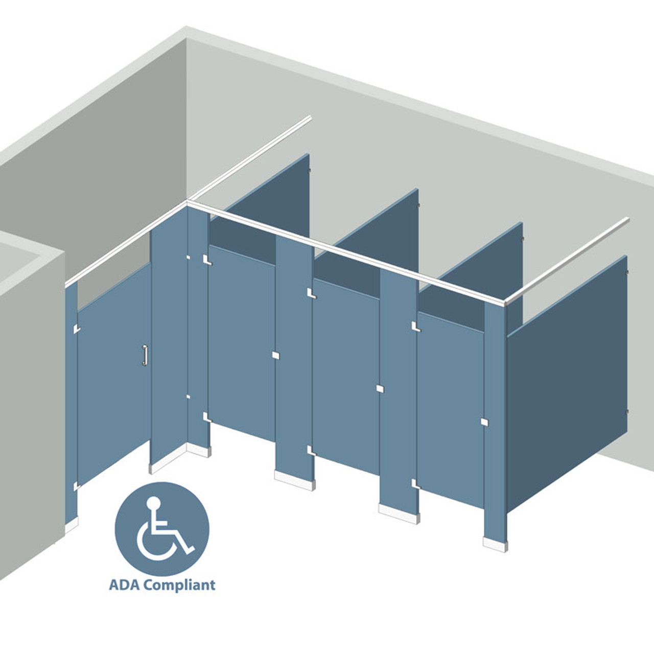 Alcove Left Hand   4 Stall ADA; Partition Styles; Partition Materials ...