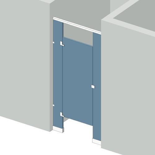 Bathroom Partitions   1 Stall Between Walls Left Hand