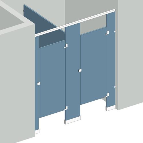 Bathroom Partitions   2 Stalls Between Walls Right Hand