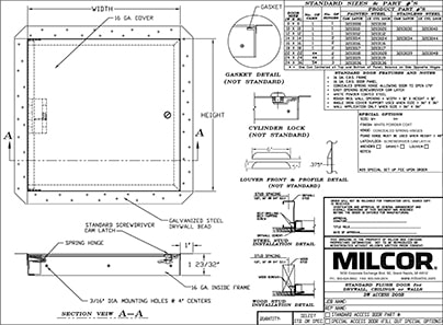 Milcor DW Access Door Data Sheet