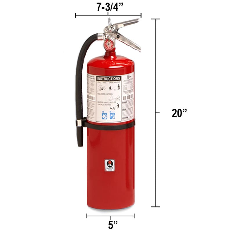Dry Chemical 10lb Fire Extinguisher - Class BC Galaxy Dimensions