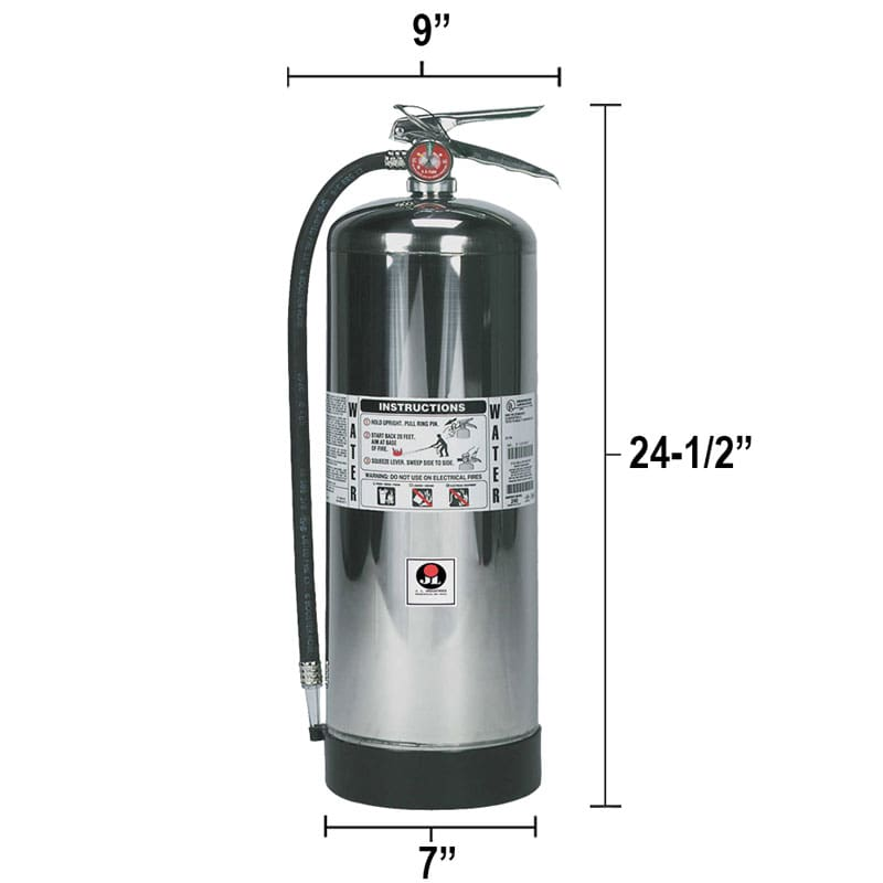 Pressurized Water 2.5 gal. Fire Extinguisher - Class A Grenadier Dimensions