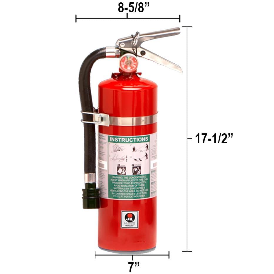 Halotron I 11lb Fire Extinguisher - Multi-Purpose Mercury Dimensions