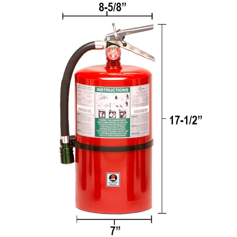 Halotron I 15.5lb Fire Extinguisher - Multi-Purpose Mercury Dimensions