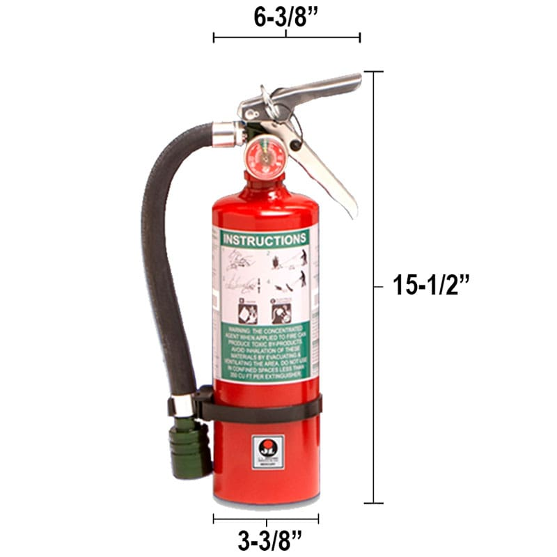 Halotron I 2.5lb Fire Extinguisher - Multi-Purpose Mercury Dimensions