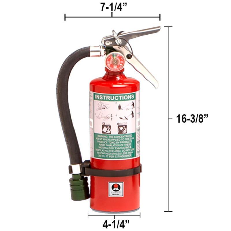 Halotron I 5lb Fire Extinguisher - Multi-Purpose Mercury Dimensions