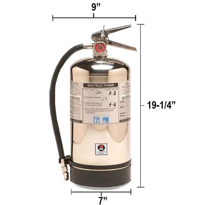 Wet Chemical 1.8gal Fire Extinguisher - Class K Saturn Dimensions