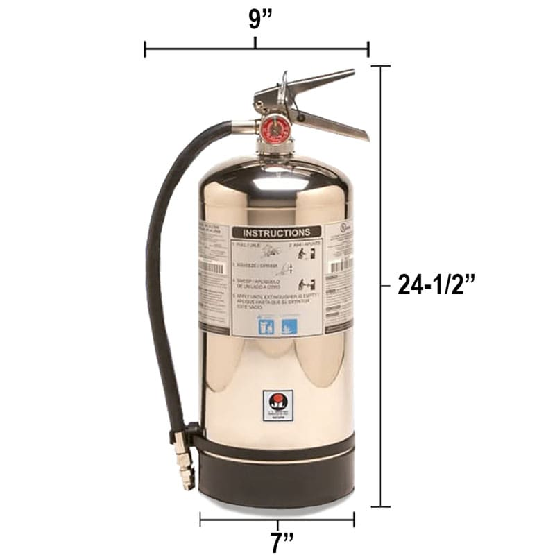 Wet Chemical 2.5gal Fire Extinguisher - Class K Saturn Dimensions
