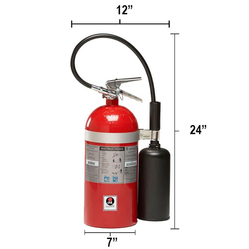 Carbon Dioxide (CO2) 10lb Fire Extinguisher - Class BC Sentinel Dimensions