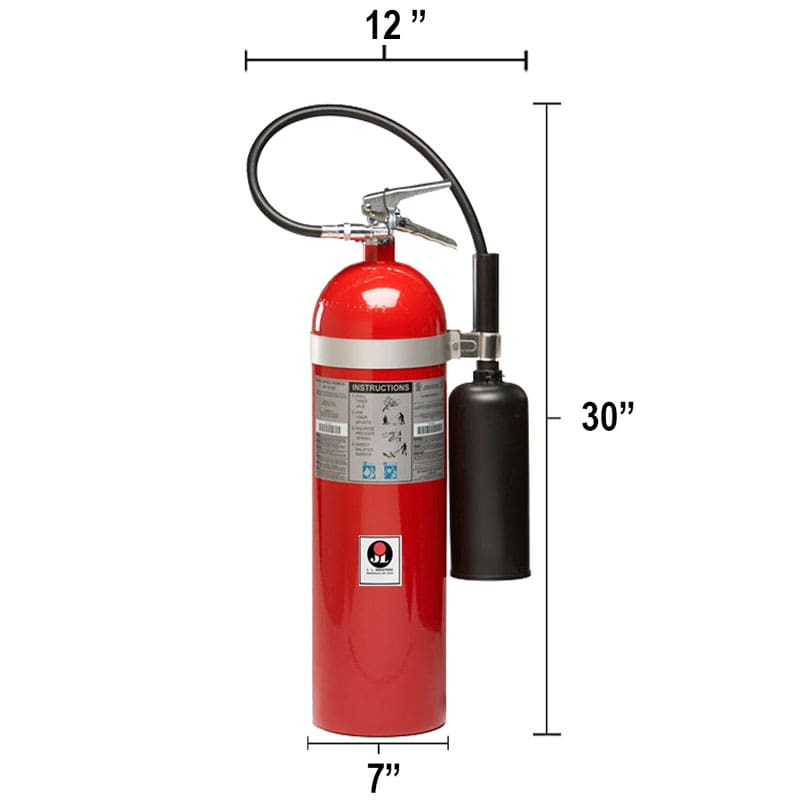 Carbon Dioxide (CO2) 15lb Fire Extinguisher - Class BC Sentinel Dimensions