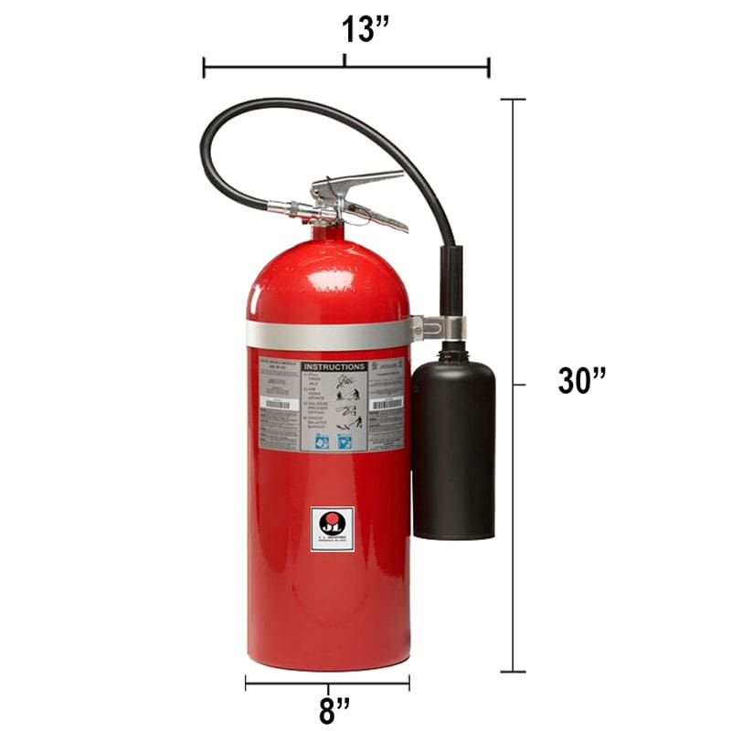 Carbon Dioxide (CO2) 20lb Fire Extinguisher - Class BC Sentinel Dimensions