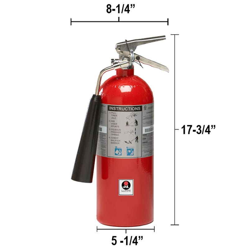Carbon Dioxide (CO2) 5lb Fire Extinguisher - Class BC Sentinel Dimensions