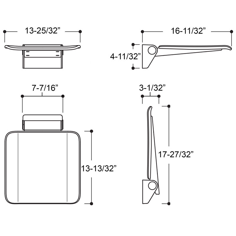 Series 900 Hinged Seat Dimensions - Small
