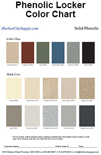 Phenolic Locker Color Chart