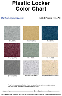 Plastic Locker Color Chart
