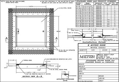 Milcor K Access Door Data Sheet