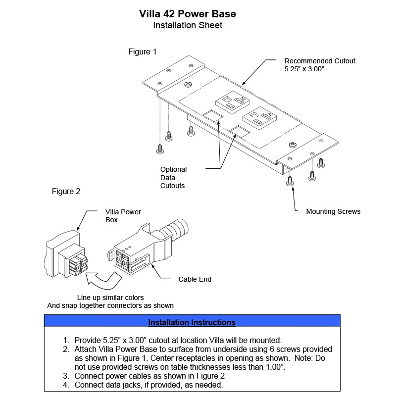 Villa Power Base DaisyLink - 2 Power with Optional Active USB and Data Install Sheet
