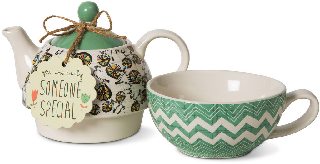 Bicycle Teapot with coordinating cup combo