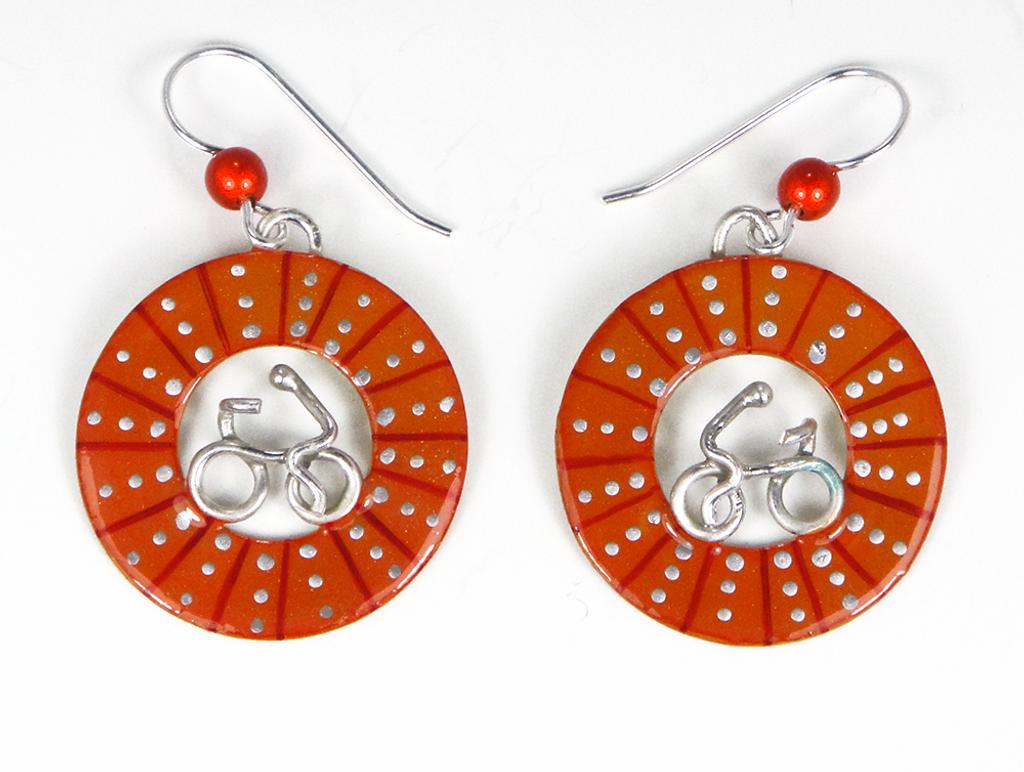 Bicycle Wheel Earrings - Orange