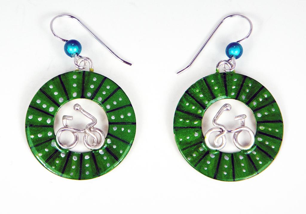 Bicycle Wheel Earrings - Green