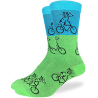 Blue and Green Dogs on Bike Sock