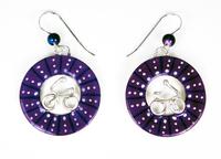 Bicycle Wheel Earrings - Purple