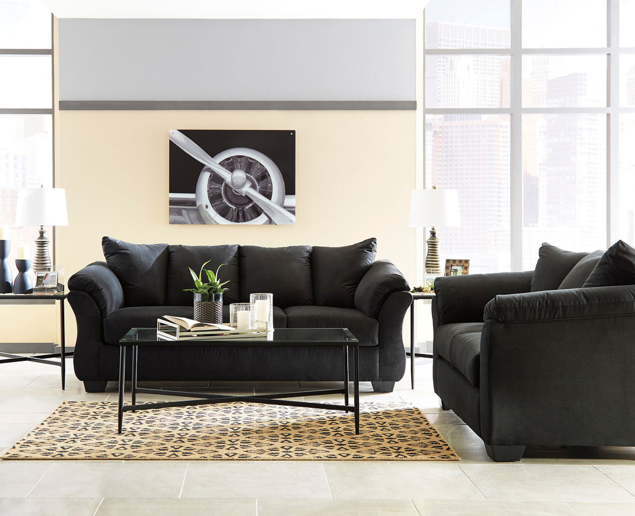 The Darcy Black Sofa Loveseat Augeron Table Set Available At
