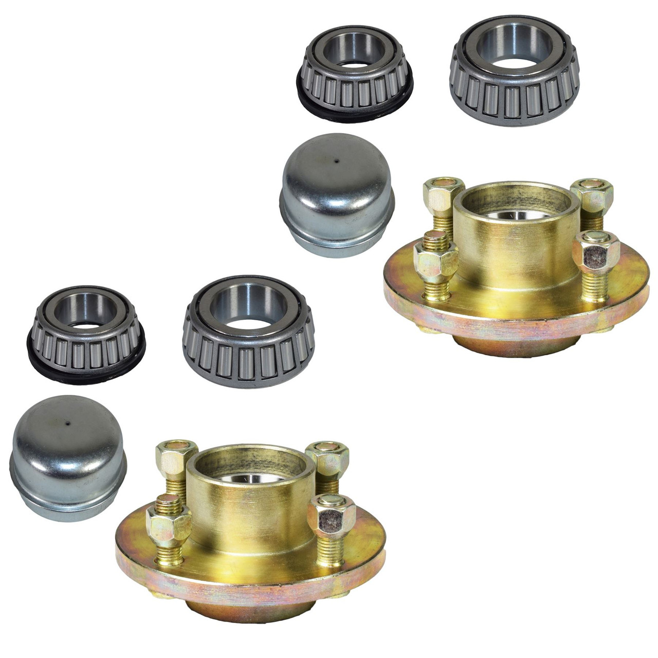 "Pair Of Trailer Cast Wheel Hub 100mm PCD 1"" Taper Bearing 4 Studs Nuts + Caps"