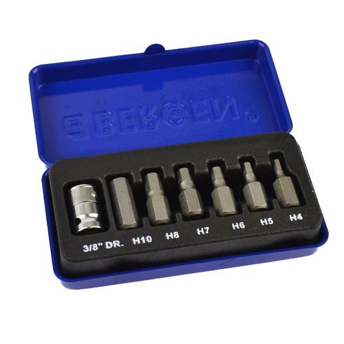 """Hex / Allen Key Sockets 3/8"""" Drive 4mm - 10mm 7pcs BERGEN AT777"""