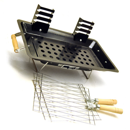 Steel hibachi charcoal grill / barbecue for camping / gardens / patios etc CMP11