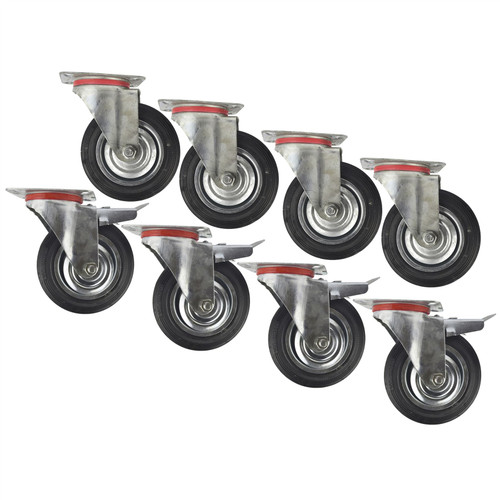 "6"" (150mm) Rubber Swivel and Swivel With Brake Castor Wheel (8 Pack) CST010_011"