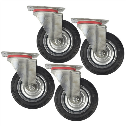 "6"" (150mm) Rubber Swivel Castor Wheels Trolley Furniture Caster (4 Pack) CST010"