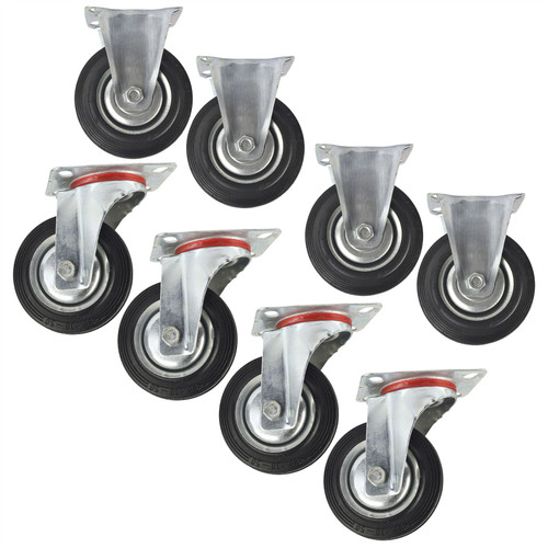 "4"" (100mm) Rubber Fixed and Swivel Castor Wheel Trolley Caster (8 Pack) CST03_04"
