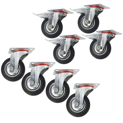 "4"" (100mm) Rubber Swivel and Swivel With Brake Castor Wheel (8Pack) CST04_05"