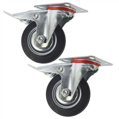 "4"" (100mm) Rubber Swivel With Brake Castor Wheels Trolley Caster (2 Pack) CST05"