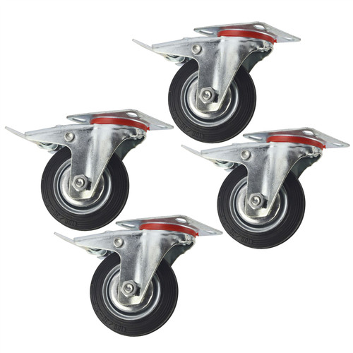 "4"" (100mm) Rubber Swivel With Brake Castor Wheels Trolley Caster (4 Pack) CST05"