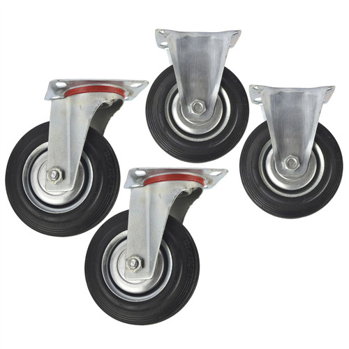 "5"" (125mm) Rubber Fixed and Swivel Castor Wheel Trolley Caster (4 Pack) CST06_07"