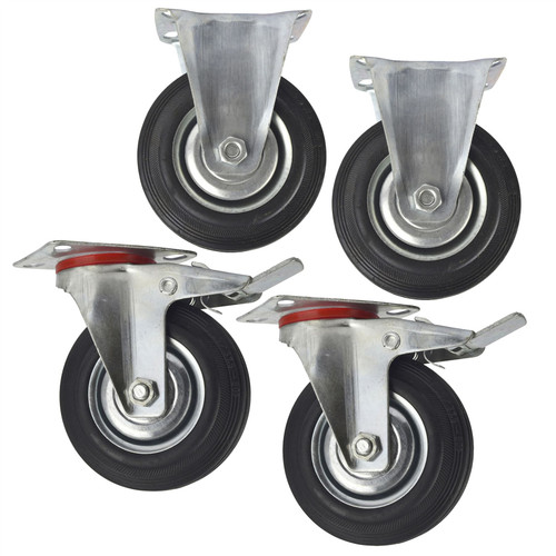 "5"" (125mm) Rubber Fixed and Swivel With Brake Castor Wheels (4 Pack) CST06_08"