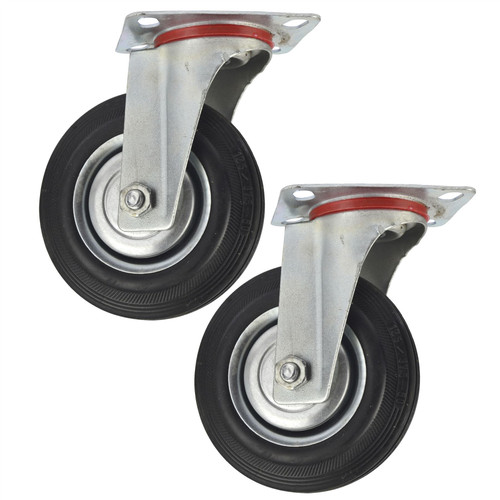 "5"" (125mm) Rubber Swivel Castor Wheels Trolley Furniture Caster (2 Pack) CST07"