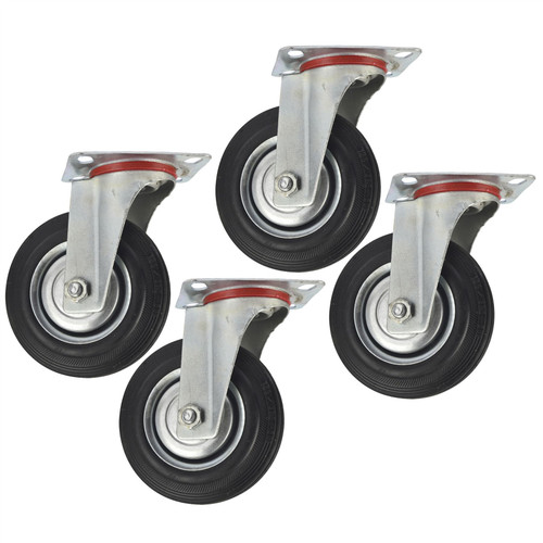 "5"" (125mm) Rubber Swivel Castor Wheels Trolley Furniture Caster (4 Pack) CST07"
