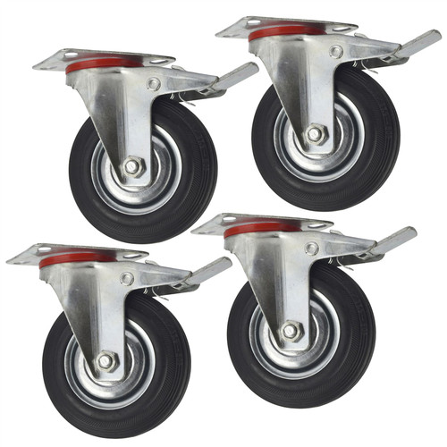 "5"" (125mm) Rubber Swivel With Brake Castor Wheels Trolley Caster (4 Pack) CST08"