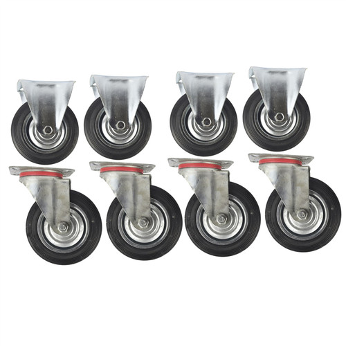 "6"" (150mm) Rubber Fixed and Swivel Castor Wheel Trolley Caster (8Pack) CST09_010"