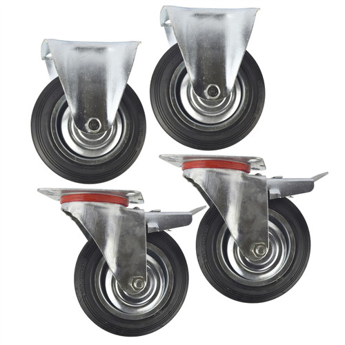 "6"" (150mm) Rubber Fixed and Swivel With Brake Castor Wheels (4 Pack) CST09_011"