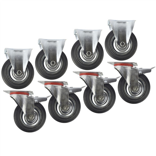 "6"" (150mm) Rubber Fixed and Swivel With Brake Castor Wheels (8 Pack) CST09_011"